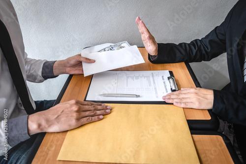 Anti bribery and corruption concept, Business man refusing and don't receive mon Tapéta, Fotótapéta