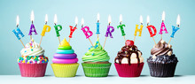 Colorful Happy Birthday Cupcakes