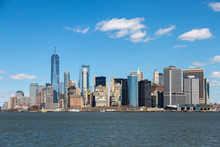 Panorama Of New York City Skyline And Manhattan As Seen From Upper Bay