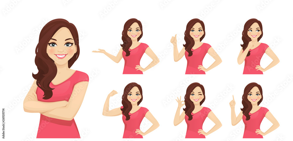 Fototapeta Smiling beatiful woman with curly hairstyle set with different gestures isolated