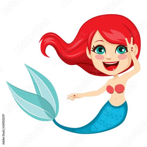 Aluminium Prints Mermaid Illustration of red hair mermaid cartoon character with green fish tail