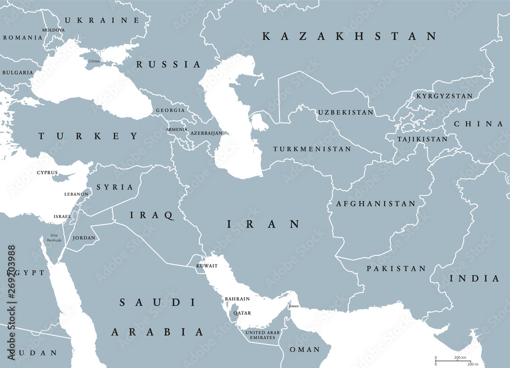 Poludniowo Zachodnia Azja Mapa Polityczna Z Granicami Zwana
