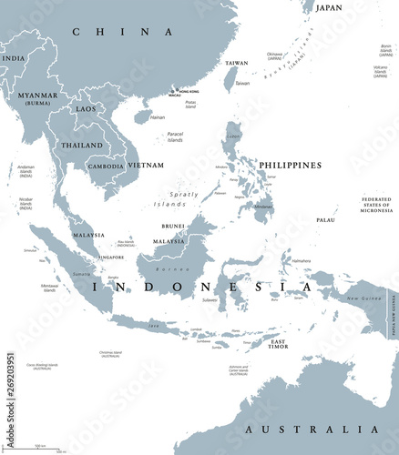 Southeast Asia, political map with borders. Subregion of Asia with ...
