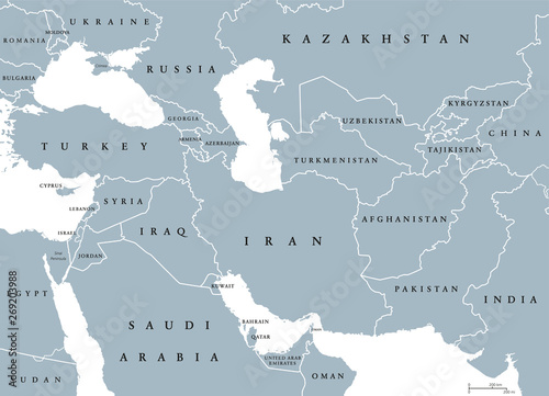 Southwest Asia Political Map on