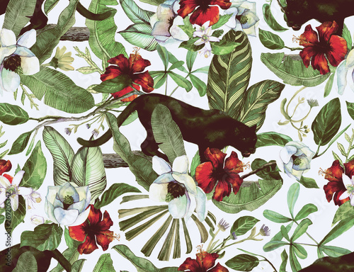 Tropical  pattern with tropical flowers, banana leaves and panther, leopard, cougar, wildcat
