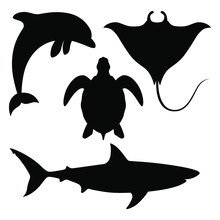 Sea Animals Set Icons. Black S...