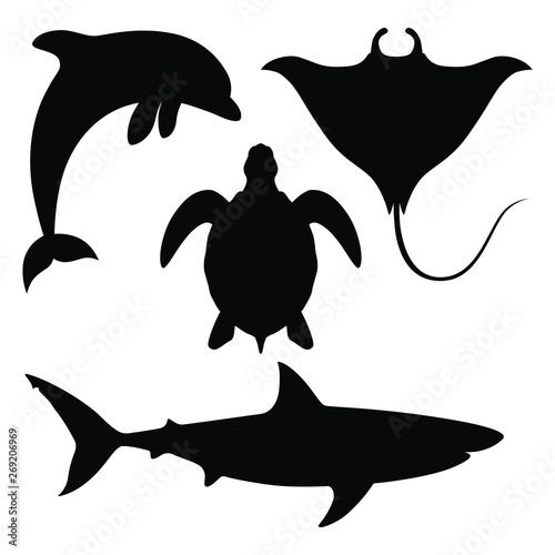 Fotografie, Obraz Sea animals set Icons