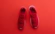 Leinwandbild Motiv A studio shot of pair of running shoes on red background. Flat lay.