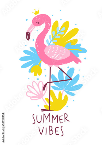 Pink flamingo with color tropical leaves - summer greeting card