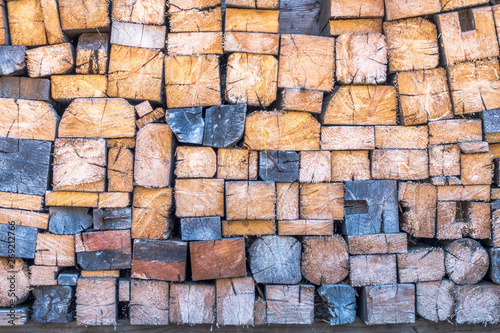 Aluminium Prints Firewood texture Firewood piled in stack outside