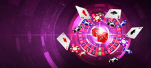 Illustration, Slot Machine Of Casino Element Isolation Banner Over Glowing And Abstract Background On The Colorful, 3d Rendering