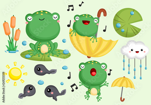 Fotografie, Obraz  a vector collection of cute frogs and tadpoles