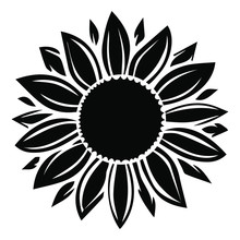 Sunflower Vector Illustration In Black Color
