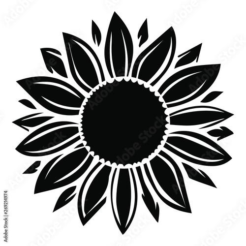 Sunflower vector illustration in black color Fototapete