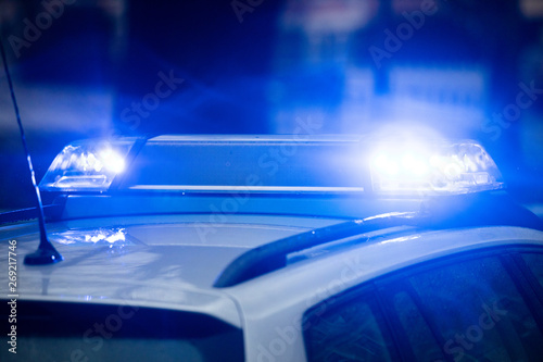 Fotomural Blaulicht Polizei Einsatz Fahrzeug Schilder