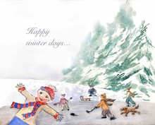 Children Are Skating On A Pond In Village Watercolor Illustration. Christmas Hand Painted Greeting Card.