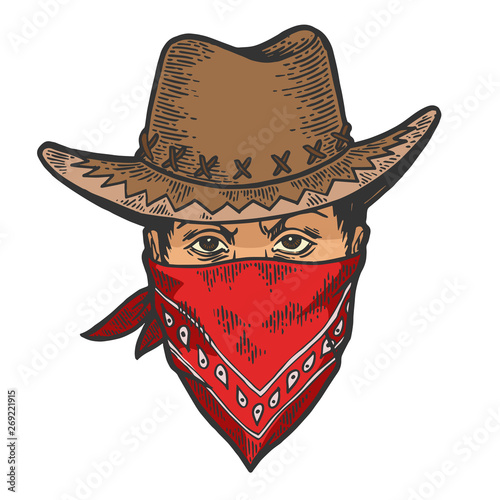Cowboy head in bandit gangster mask bandana color sketch line art engraving vector illustration Wallpaper Mural