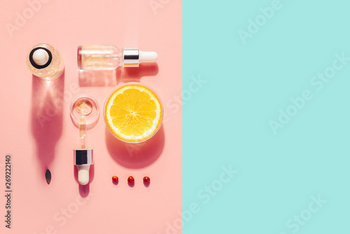 Organic bio cosmetics with vitamin C. Homeopathic oils, supplements. Concept of Minimalism Flat lay - 269222140