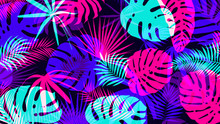 Creative Background With Bright Tropical Leaves With An Overlap Effect