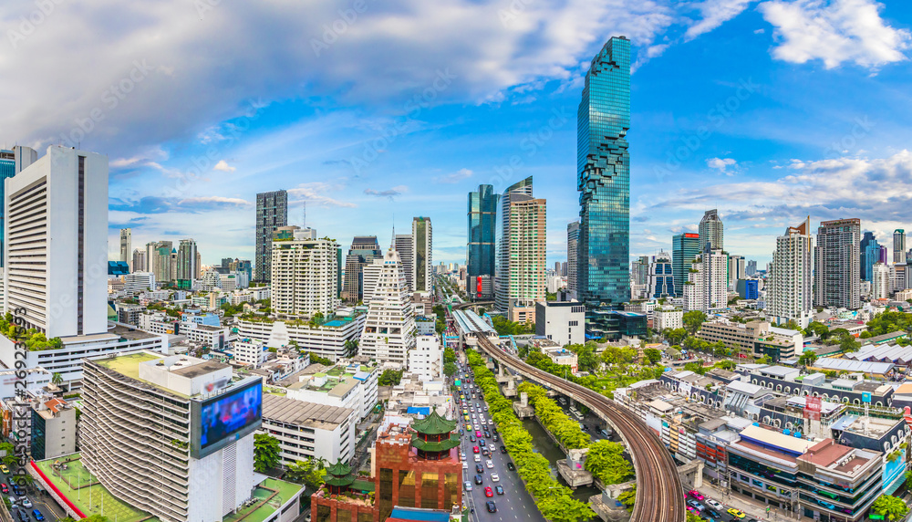 Fototapety, obrazy: City view of Bangkok city  and subway station Thailand
