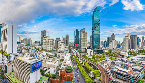 City view of Bangkok city and subway station Thailand