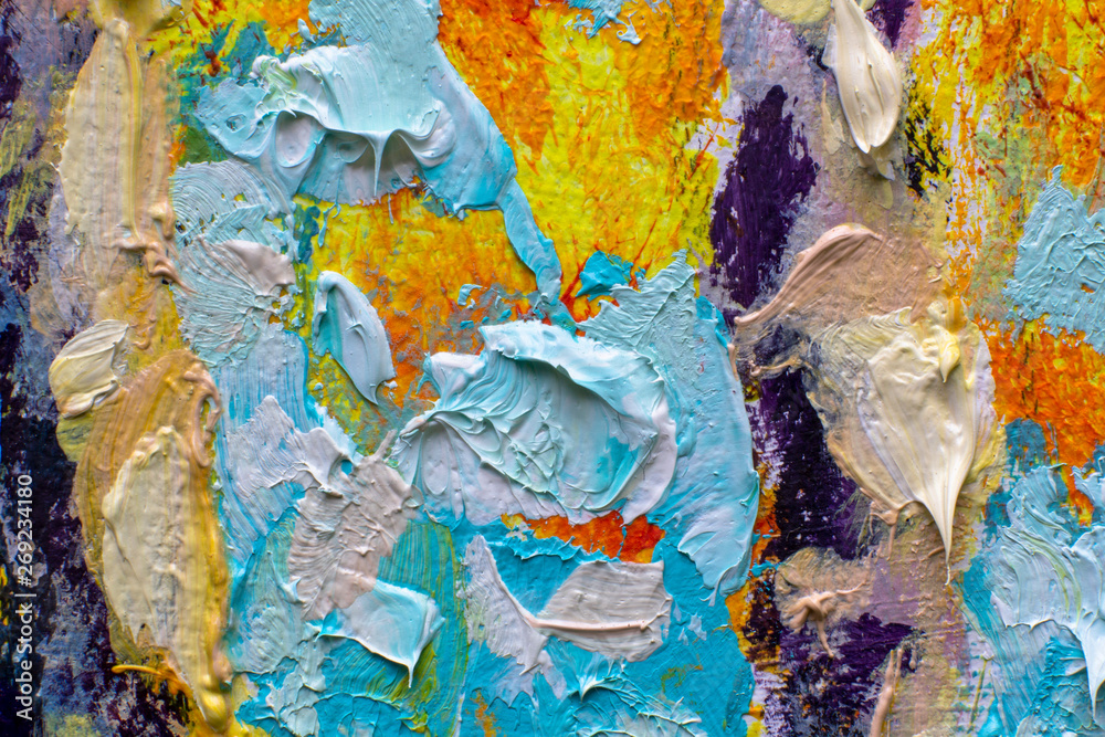 Fototapeta Painting oil - Multicolored bright abstract background - large strokes of oil and palette knife on canvas. Abstract painting - modern art impressionism