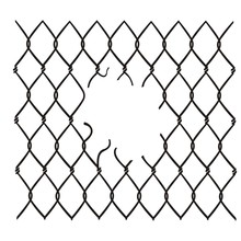 Chain Link Fence Damaged Vector