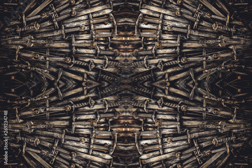 Metal knight swords background. The concept Knights. Canvas Print