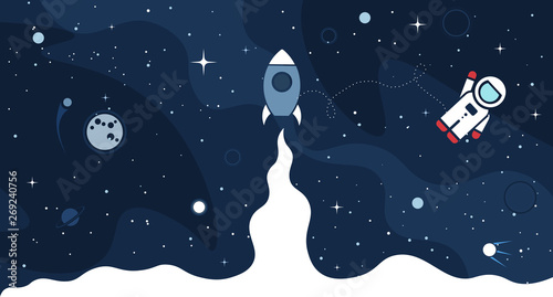 Fototapeta Space background with cosmos and white empty place for text. Cute template with Astronaut, Spaceship, Rocket, Moon and Stars for poster, banner web landing page or website design obraz
