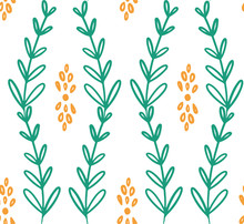 Green Yellow Vine Flower Seamless Pattern. Great For Floral Product Design, Fabric, Wallpaper, Backgrounds, Invitations, Packaging Design Projects. Surface Pattern Design.