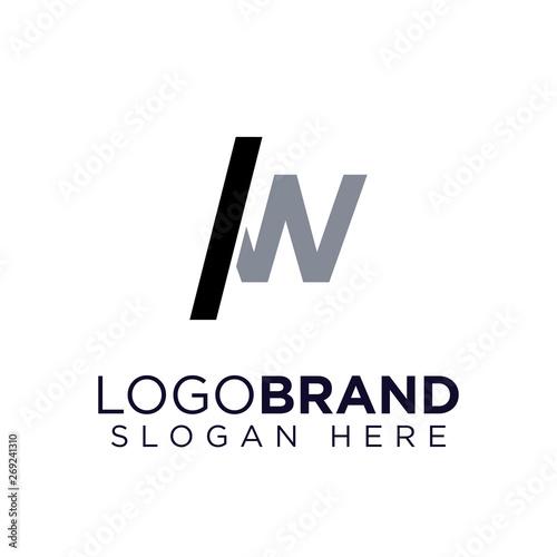 Slash and W letter Logo Vector Canvas Print