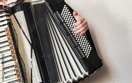 Fotografia, Obraz Accordionist with vintage accordion