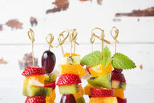 Fresh Fruit On Skewers. Concept Buffet For A Summer Party. Copy Space
