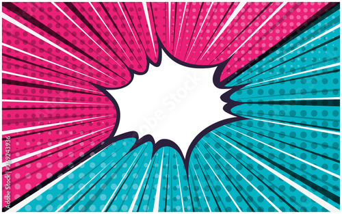 Tuinposter Pop Art Bright pink and blue exploding striped versus retro comic background with dotted halftone corners. Cartoon pop art vs bubble with dark and light stripes for comics book, advertising design, poster