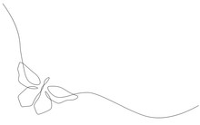 Butterfly Isolated On White Background Line Drawing Vector Illustration