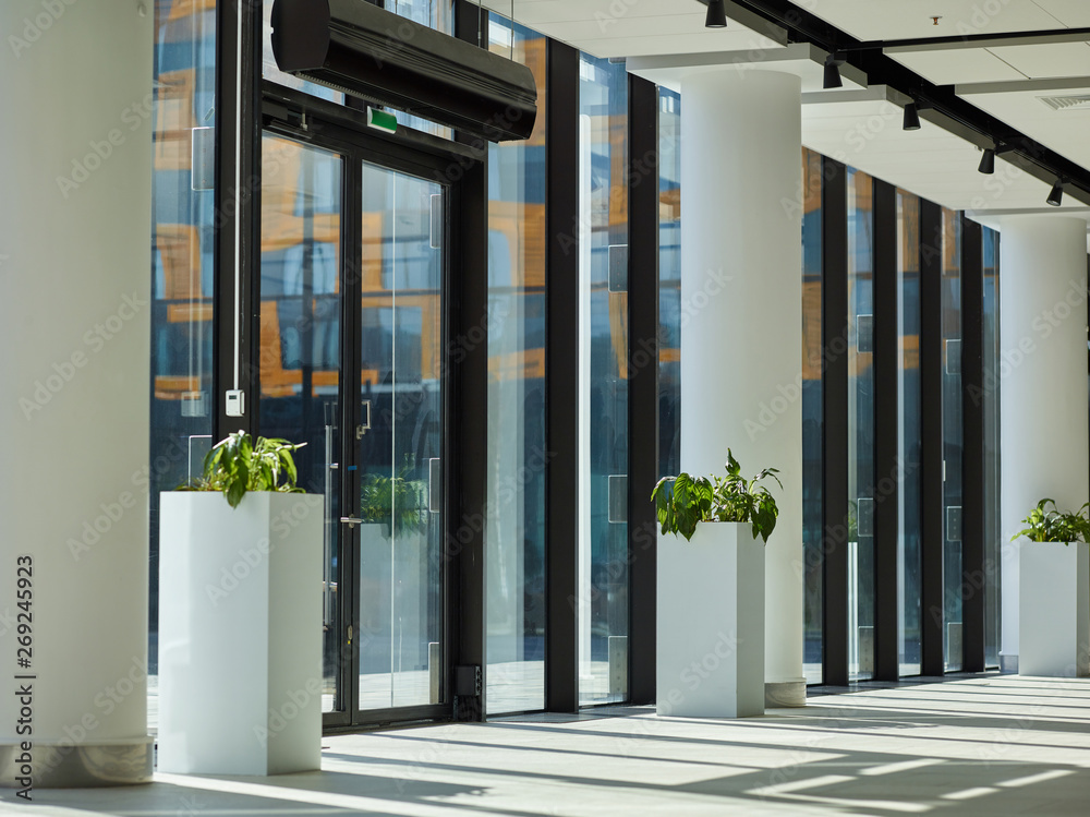 Fototapeta Interior of empty entrance hall in modern office building, business center, hotel or shopping mall with glass doors and walls, white columns and flower beds
