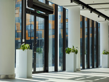 Interior Of Empty Entrance Hall In Modern Office Building, Business Center, Hotel Or Shopping Mall With Glass Doors And Walls, White Columns And Flower Beds