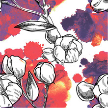 Seamless Pattern Flowers On A Branch. Drawing By Hand With A Paint Texture. Large Pink Buds And Flowers. Stylish Multicolored Background.