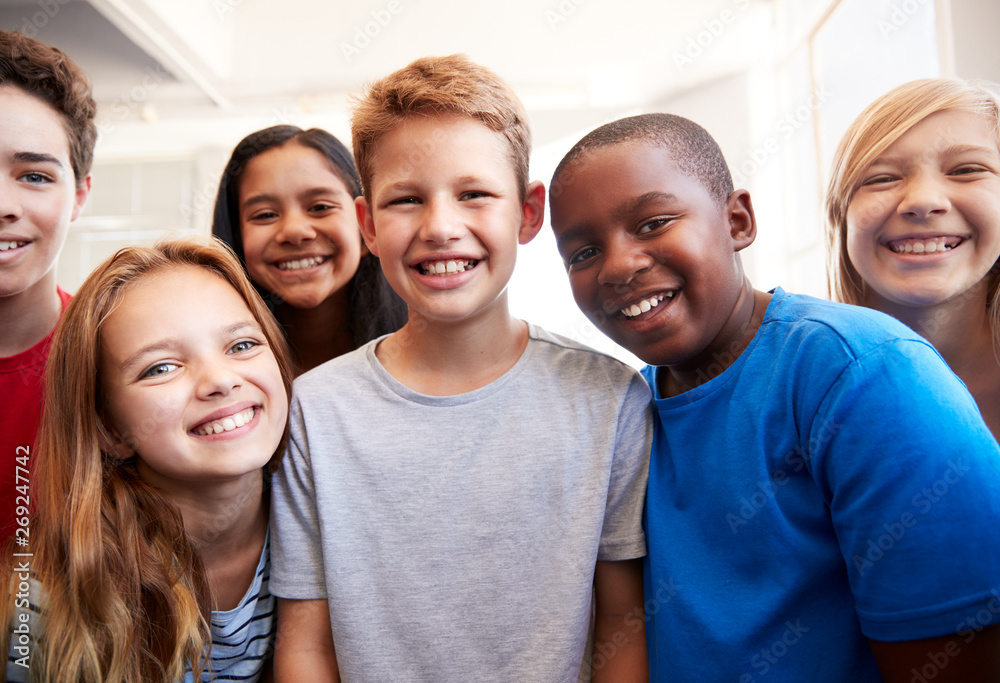 Fototapety, obrazy: Portrait Of Smiling Male And Female Students In Grade School Classroom