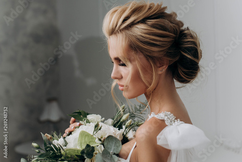 Bride with a beautiful hairstyle Canvas Print