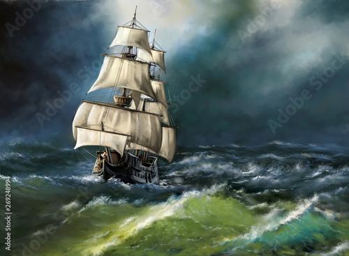 In de dag Schip Old ship in the sea. Digital oil paintings landscape. Fine art.