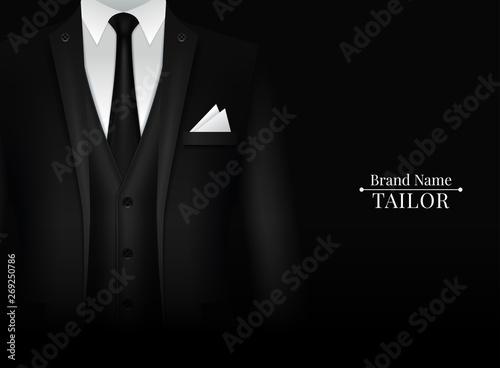 Valokuva Black Suit and Tuxedo with bow tie