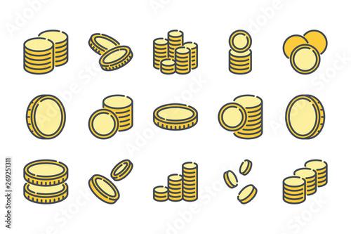 Fotografía Stack of coins related color line icon set