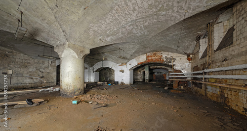 Photographie  AInterior of an abandoned underground wine cellar and warehouse of the 19th century