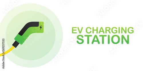 Foto EV charging station banner. Vector stock illustration.