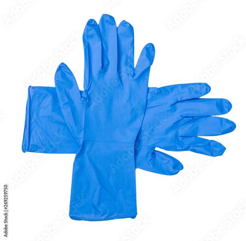 Valokuvatapetti Doctor hand medical gloves on white background