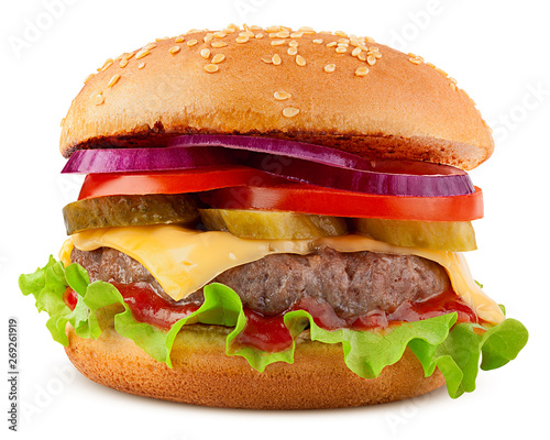 Staande foto Snack delicious fast food, burger, hamburger, cheeseburger, isolated on white background, full depth of field, clipping path