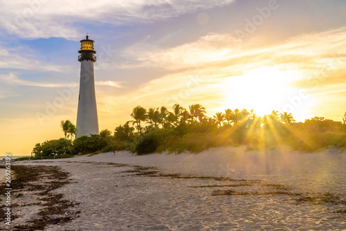 Fotografia  Cape Florida Lighthouse and Lantern in Bill Baggs State Park in ,Florida