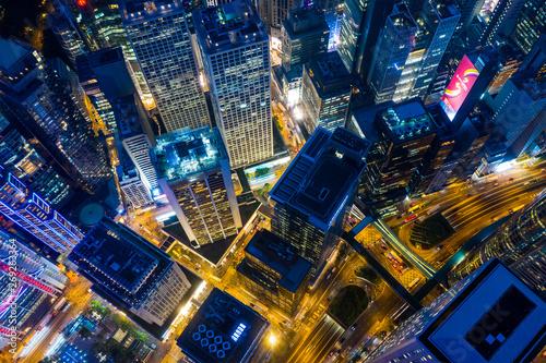 Top down view of Hong Kong city at night