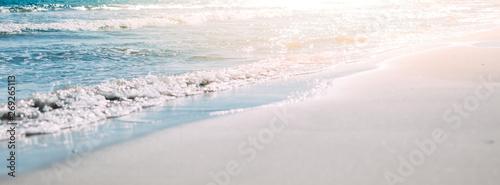 Summer sand beach and seashore waves background Wallpaper Mural
